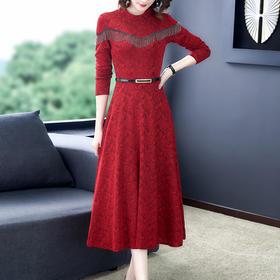 HT-N-A08-6179新款时尚优雅气质收腰显瘦圆领长袖中长款连衣裙TZF