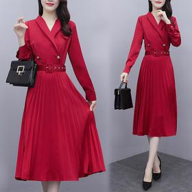 YHSS905265新款时尚优雅气质西装领长袖中长款百褶连衣裙TZF