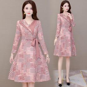 YWE-MY-Y20362新款时尚气质修身V领长袖中长款格子连衣裙TZF