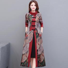YWE-TYH7039新款优雅气质修身高领长袖仿貂绒印花加厚连衣裙TZF