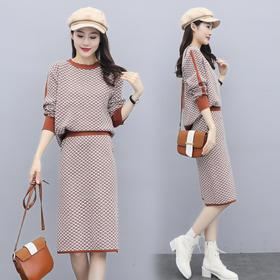CQ-XX2575新款潮流时尚气质圆领长袖上衣半身裙两件套TZF