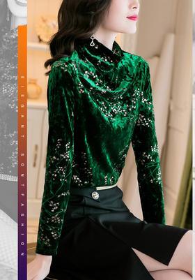 HT090402新款时尚气质半高领长袖金丝绒印花打底衫TZF