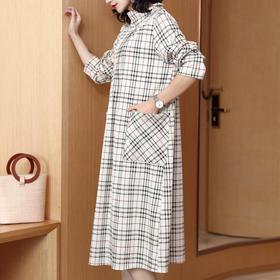 DRYQ-S0115新款宽松休闲显气质格纹连衣裙TZF