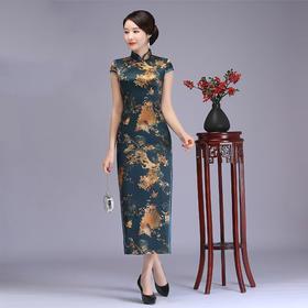 RYTS-10130复古改良哈青色孔雀旗袍TZF