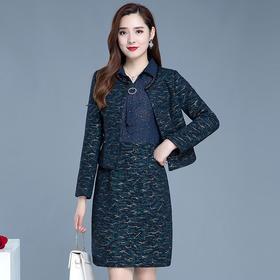 QYM-XZX-20D41新款时尚优雅气质修身显瘦拼接印花连衣裙两件套TZF