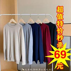YLFZ男士新款时尚气质圆领长袖纯色针织衫TZF
