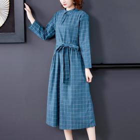 HT-BH-353-7781新款时尚气质翻领长袖棉麻格子连衣裙TZF