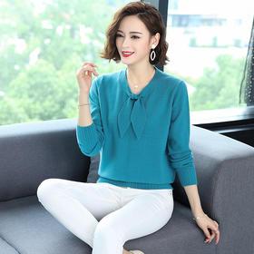 XYFZ46-82052新款时尚洋气蝴蝶结领长袖针织衫TZF