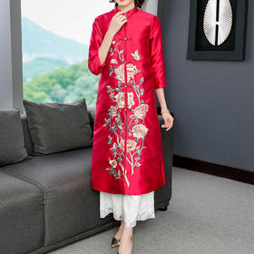 FNZD5050新款中国风优雅气质宽松立领中长款刺绣风衣外套TZF