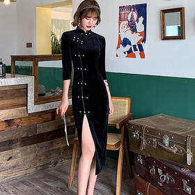 QCXD20334新款优雅气质修身立领七分袖中长款丝绒旗袍TZF