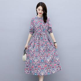 HRFS-WN7099新款时尚气质修身显瘦圆领长袖印花中长款连衣裙TZF