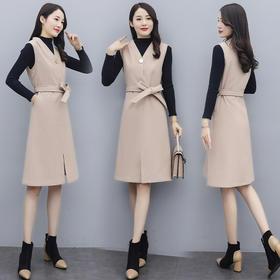 HRFS-WX20579新款优雅气质修身打底衫毛呢背心裙两件套TZF