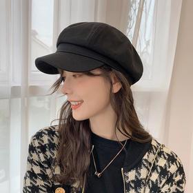 纯色八角帽女士2020秋冬季时尚帽子ins黑色日系贝雷帽逛街