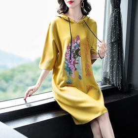 WLZD2019104新款时尚优雅气质勾花烫钻针织连帽毛衣裙TZF