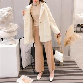 YNYMS2316新款时尚气质宽松仿水貂绒中长款大衣外套TZF