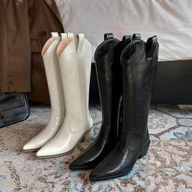 XMYL597新款时尚真皮尖头粗中跟高筒靴TZF