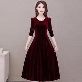 YWE-KED9912新款时尚优雅气质修身显瘦V领长袖金丝绒连衣裙TZF
