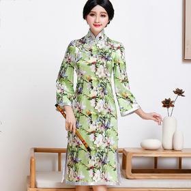 FD-QC1697351新款民族风优雅气质修身显瘦立领真丝印花旗袍裙TZF