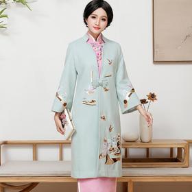 FD-QC1697388新款民族风优雅气质修身羊绒绣花大衣TZF