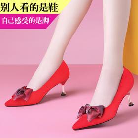 MLKL9728新款时尚气质蝴蝶结尖头浅口细高跟鞋TZF