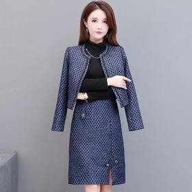 QYM-TYH-7046-Y新款优雅气质修身高领长袖拼接连衣裙短款外套两件套TZF