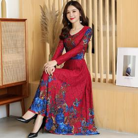 QQH2362新款民族风优雅气质修身显瘦V领长袖印花连衣裙TZF