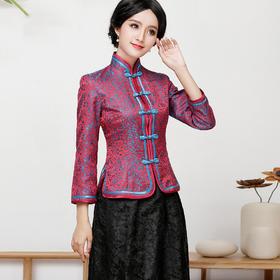 FD-QC1697379新款民族风优雅修身真丝印花旗袍上衣半身裙两件套TZF