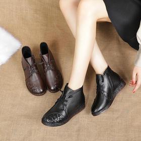MLD6052新款优雅复古真皮牛筋软底防滑短靴TZF