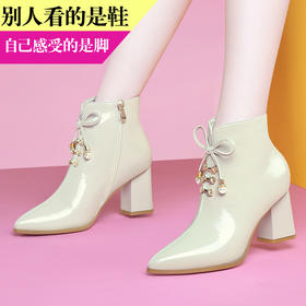 MLKL9747新款潮流时尚尖头侧拉链粗高跟短靴TZF