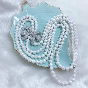 NM-MYL-20209261新款优雅气质双层贝壳珍珠镶蝴蝶结毛衣链TZF