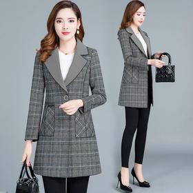 MQ-QZY902新款时尚气质百搭西装领长袖中长款格子外套TZF