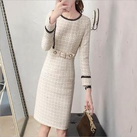 APSL新款时尚优雅气质收腰显瘦圆领长袖加厚连衣裙TZF