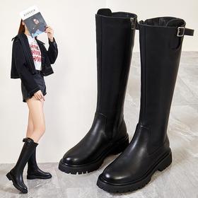 ZZX2331新款时尚气质真皮皮带扣侧拉链长靴TZF