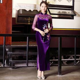 DLQ-A2640新款中国风优雅气质修身立领七分袖丝绒刺绣长款礼服裙TZF