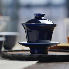 蓝和白 祭蓝釉盖碗