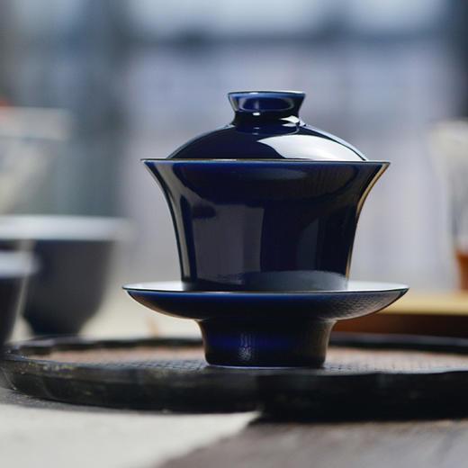 蓝和白 祭蓝釉盖碗 商品图0