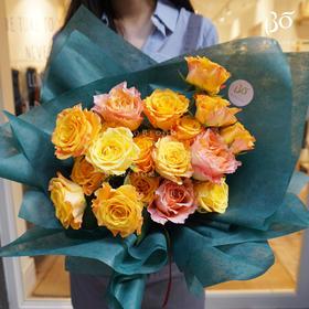 19枝橙色玫瑰(内含3枝进口玫瑰)