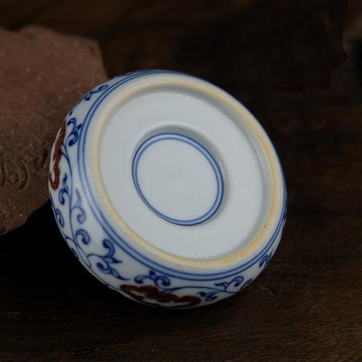 怀景堂 青花釉里红莲纹茶壶盖托 商品图1