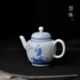 怀景堂 纯手绘青花芦雁图小号茶壶