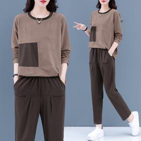 HT130新款时尚气质休闲百搭圆领长袖卫衣裤子两件套TZF