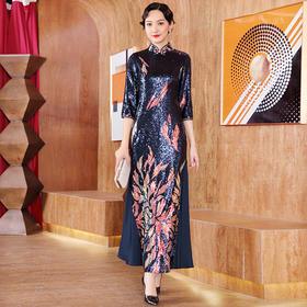 DLQ-A2656新款中国风优雅气质修身立领七分袖亮片长款礼服裙TZF