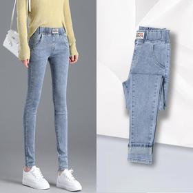 PDD-XLYZ200930新款时尚气质松紧高腰显瘦牛仔铅笔裤TZF