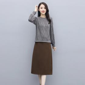 HRFS-WJ2679新款时尚优雅气质修身圆领长袖上衣半身裙两件套TZF