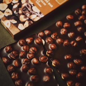[LAUENSTEIN城堡手工黑巧克力榛子排块]醇正黑巧克力 包裹颗颗香脆榛子    275克/盒装