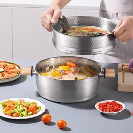 悦味元器系列24cm不锈钢雪平蒸锅