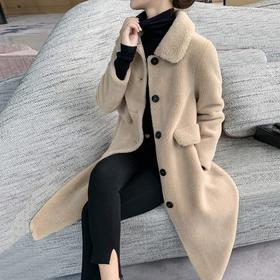 PDD-QKYFS201011新款时尚优雅气质加厚中长款小颗粒绒大衣外套TZF