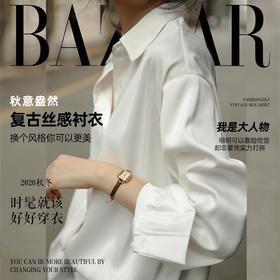 芭莎复古丝感衬衫(白色S码、蓝色S码M码预计10.30开始发货)