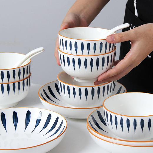 【为思礼】「日式手绘瓷器餐具」16件套日式和风千叶草手绘餐具套装 盘子/碗 商品图8