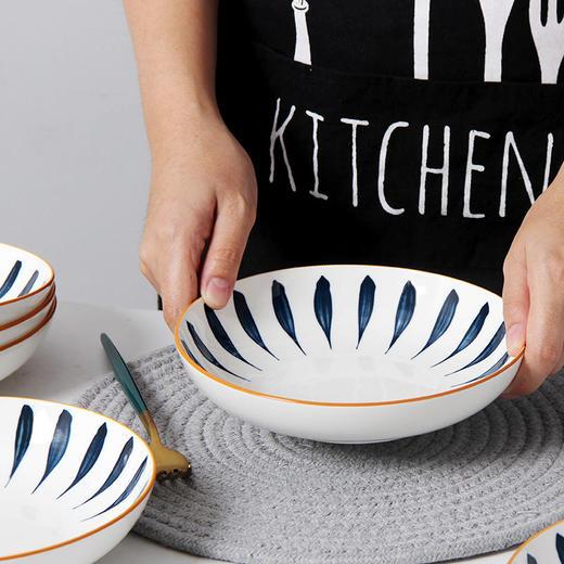 【为思礼】「日式手绘瓷器餐具」16件套日式和风千叶草手绘餐具套装 盘子/碗 商品图9