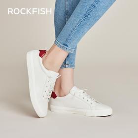 Rockfish一脚蹬皮面懒人超纤休闲小白鞋